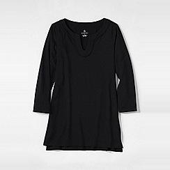 Lands' End - Black women's notch neck jersey tunic