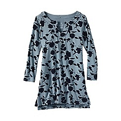Lands' End - Blue women's print notch neck jersey tunic
