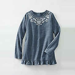 Lands' End - Blue girls' embroidered ruffle hem chambray legging top