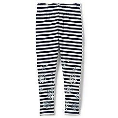 Lands' End - Cream girls' shimmer ankle length leggings