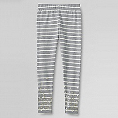 Lands' End - Grey girls' shimmer ankle length leggings