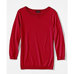 Lands' End - Red women's fine gauge supima; crew neck