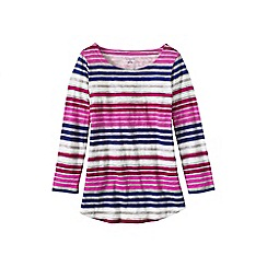 Lands' End - Pink women's regular three quarter sleeve slub jersey print top
