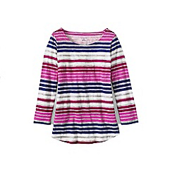 Lands' End - Pink women's petite three quarter sleeve slub jersey print top