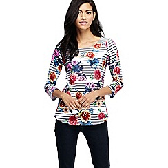 Lands' End - Orange women's petite three quarter sleeve slub jersey print top