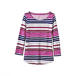 Lands' End - Pink women's three quarter sleeve slub jersey print top