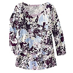 Lands' End - Purple three quarter sleeve slub jersey print top