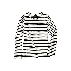 Lands' End - Cream women's french terry roll sleeve stripe jumper