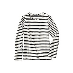 Lands' End - Cream petite french terry roll sleeve stripe jumper