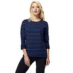 Lands' End - Blue petite french terry roll sleeve stripe jumper