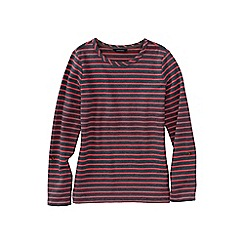 Lands' End - Grey petite french terry roll sleeve stripe jumper