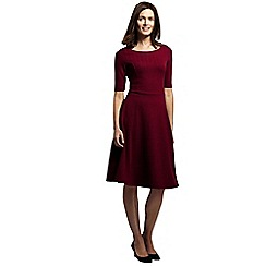 Lands' End - Red women's herringbone jacquard boatneck dress