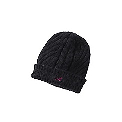 Lands' End - Black women's chunky cable beanie hat