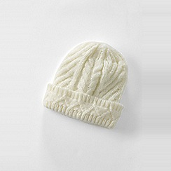 Lands' End - Cream women's chunky cable beanie hat
