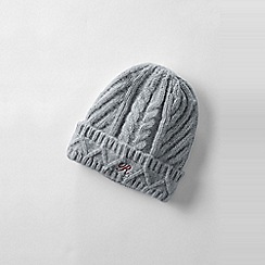 Lands' End - Grey women's chunky cable beanie hat
