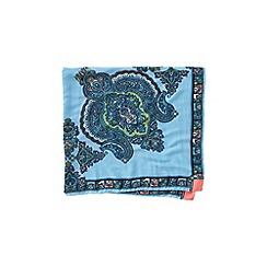 Lands' End - Blue paisley border large square scarf