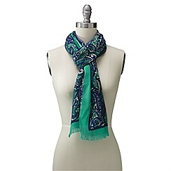 Lands' End - Blue emerald paisley border scarf
