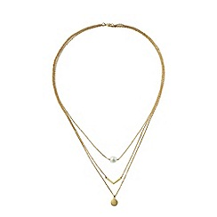 Lands' End - Gold gold and pearl three tier necklace
