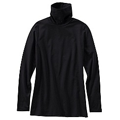 Lands' End - Black women's cotton modal long sleeve roll neck