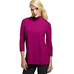 Lands' End - Pink women's cotton modal long sleeve roll neck