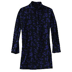 Lands' End - Blue women's lightweight cotton-modal print roll neck tunic