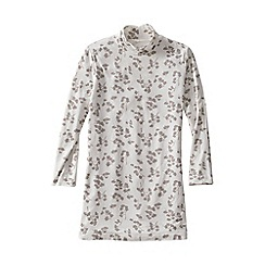 Lands' End - Cream lightweight cotton-modal print roll neck tunic