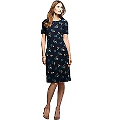Lands' End - Black women's short sleeve print ponte jersey shift dress