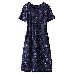 Lands' End - Blue women's short sleeve print ponte jersey shift dress