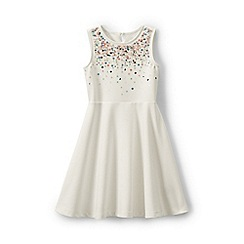Lands' End - Cream girls' sparkle ponte jersey dress