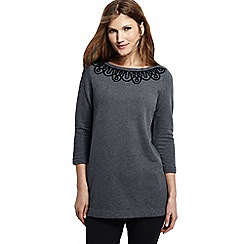 Lands' End - Grey women's petite starfish soutache 3-quarter sleeve boatneck tunic