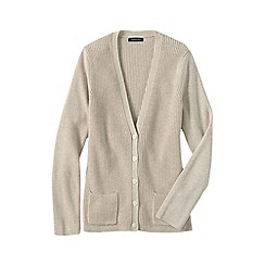 Lands' End - Beige women's cotton shaker cardigan