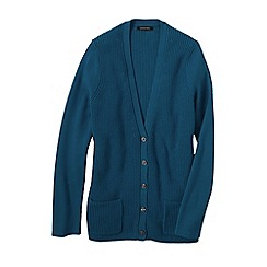 Lands' End - Blue women's cotton shaker cardigan
