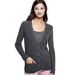 Lands' End - Grey plus cotton shaker cardigan