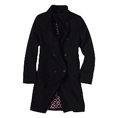 Lands' End - Black women's luxe wool/cashmere double breasted coat
