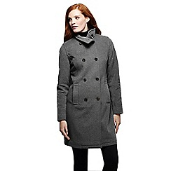 Lands' End - Grey women's luxe wool/cashmere double breasted coat