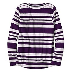 Lands' End - Purple petite everyday print fleece 100 boatneck jumper