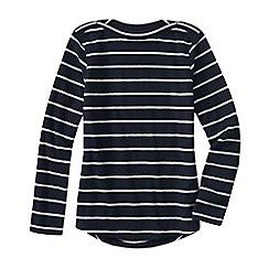Lands' End - Blue women's everyday print fleece 100 boatneck jumper
