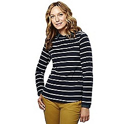 Lands' End - Blue women's everyday print fleece 100 boatneck jumper