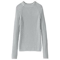 Lands' End - Grey fine gauge shaker funnel neck jumper