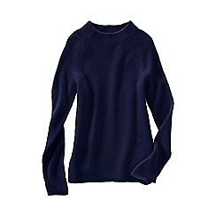 Lands' End - Blue fine gauge shaker funnel neck jumper