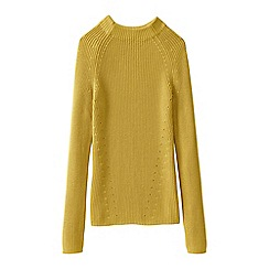 Lands' End - Gold women's fine gauge shaker funnel neck jumper