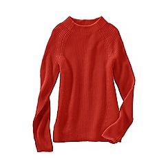 Lands' End - Orange women's fine gauge shaker funnel neck jumper