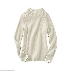 Lands' End - White women's fine gauge shaker funnel neck jumper
