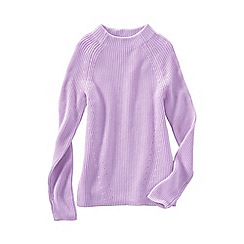 Lands' End - Purple women's fine gauge shaker funnel neck jumper