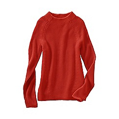 Lands' End - Orange fine gauge shaker funnel neck jumper