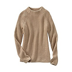 Lands' End - Beige women's fine gauge shaker funnel neck jumper