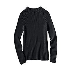 Lands' End - Black women's fine gauge shaker funnel neck jumper