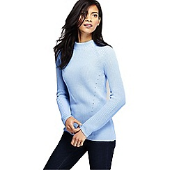 Lands' End - Blue women's fine gauge shaker funnel neck jumper