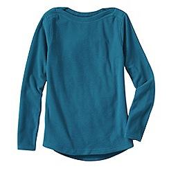 Lands' End - Blue women's everyday fleece 100 boatneck jumper