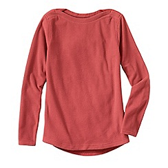 Lands' End - Orange women's everyday fleece 100 boatneck jumper